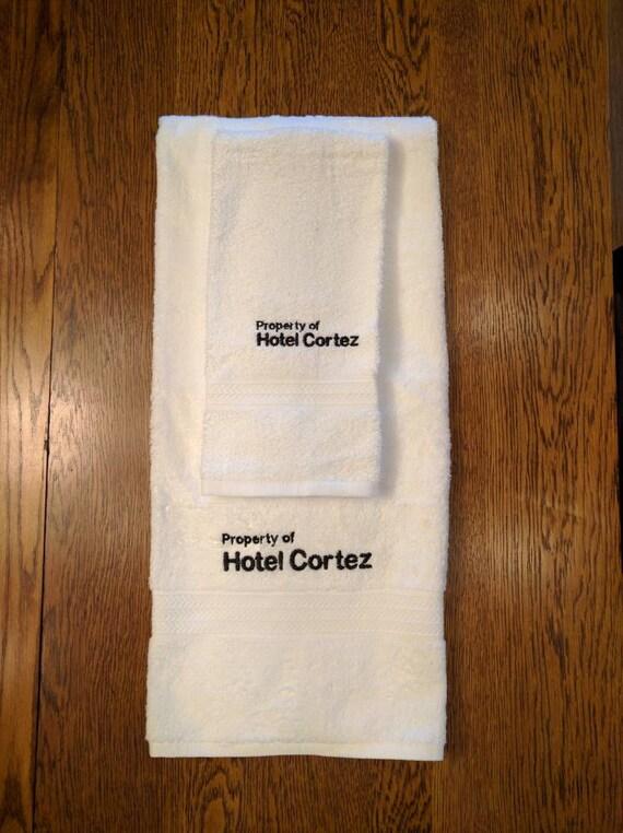 Hotel Cortez Towel Set  (1 hand towel & 1 bath towel, embroidered) (ahs, horror story, american, hotel cortez)