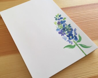 Delphinium Floral Notepad Stationery - Watercolor Flower Notepad - Floral Garden Notepad - Blue Flower Notepad - 40 Sheet Handmade Notepad