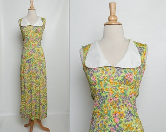 vintage 60s floral maxi dress with oversized peter pan collar