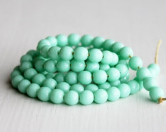 Czech Glass Beads - 100 Opaque Light Green Turquoise 4mm Rounds