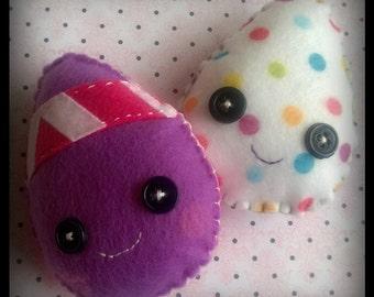 FREE US SHIPPING Kawaii Easter Eggs Plush Stuffed Animal Doll Cloth Plushie Soft Softie Cute Ooak Gift Holiday Small Purple Pinik