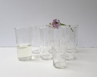 Set of 7 Vintage Tumbler Glasses - Etched Glass Floral Pattern - Mid Century Barware - Mid Century  - Federal Glass Marking -