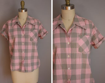 1950s Ann Lee Camp Shirt // Pink and Gray Plaid // Large