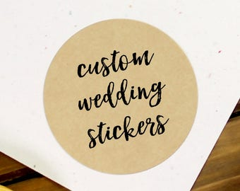 Kraft Wedding Sticker, Custom Wedding Label, Custom Wedding Stickers, Wedding Stickers, Wedding Favor Stickers, Custom Wedding (11-0001-036)