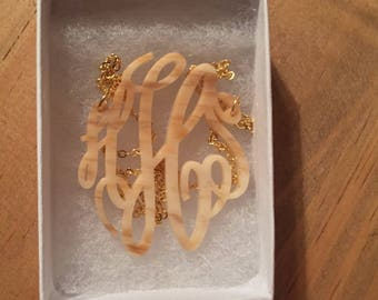 "Acrylic Monogram Necklace - 2"" Monogram Necklace for Graduation, Birthdays, Christmas - Holiday Gift - Empire Monogram Necklace"