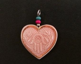 Pink hamsah heart pendant