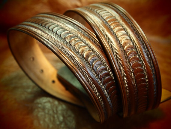 Brown Leather belt stamped and tooled Rich walnut finish made for YOU in New York USA by Freddie Matara