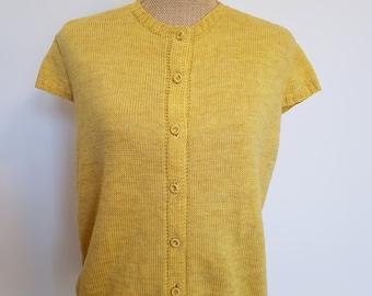 1960's yellow cap sleeve cardigan