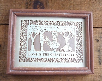 Vintage Silhouette Picture Victorian Children Motto Love is the Greatest Gift Framed Figi Graphics 1987 Laser Cut Mauve Frame 6 x 8 in