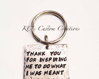 Hand stamped personalized Thank You For Inspiring Me To Do What I was Meant To Do, Professor, teacher, mentor, thank you gift, influencial