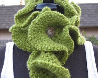 RUFFLES... Custom Boutique Hand Crocheted Neck Warmer Scarflette Olive Green Mohair Type Yarn
