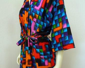 Vintage 60s Kimono Robe by Dynasty Multi-Color Geometric