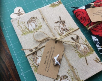Fabric covered ruled lines, note book and bookmark, rabbits, Peter Rabbit or pink and lace, Easter gifts