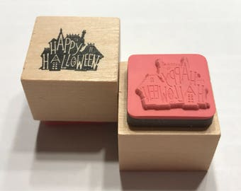 small Happy Halloween rubber stamp, 20 mm (BB1/4)