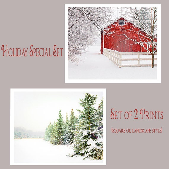 SPECIAL Holiday Sale Price, Set of 2, Extra Savings, Nature, Landscape Photography, Snow, Winter, red barn, pines, country lane, Set