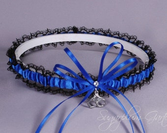 Thin Blue Line Police Officer Lace Wedding Garter in Royal Blue and Black Lace with Swarovski Crystal and Handcuff Charm - Ready to Ship
