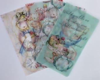 Alice in Wonderland Vellum travellers notebook dashboard,Cheshire Cat tn dashboard, floral vellum dashboard, quote dashboard