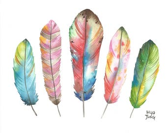 Colorful Feathers watercolor print