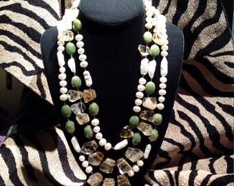 Three strand Semi-precious assorted stone necklace