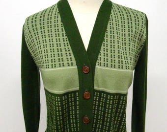 Vtg 60's Green Nerd Cardigan