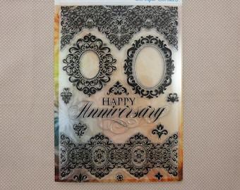 Set  de tampons transparents, baroque, anniversaire