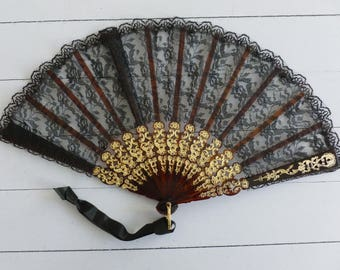 Vintage Spanish Fan, Black and Gold, Spanish Lady's Fan, Giner Abanico, Handcrafted Flamenco Style Fan