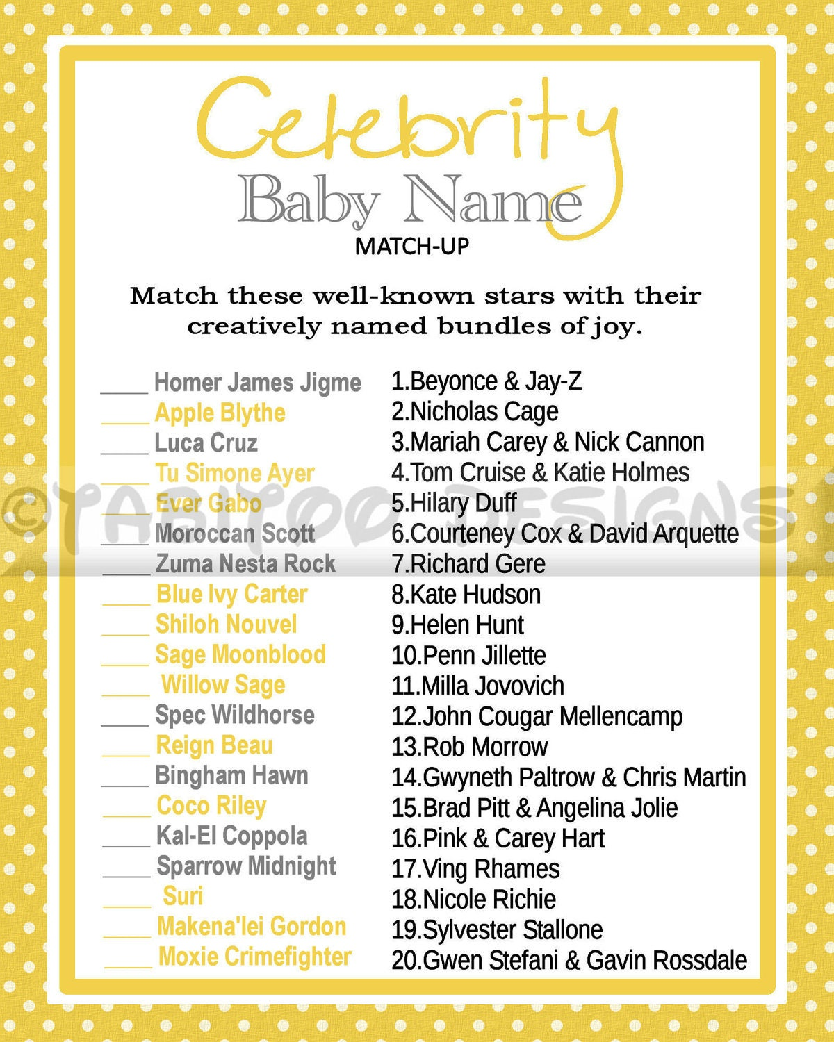 Celebrity Baby Name Match Up Game Shower PRINTABLE