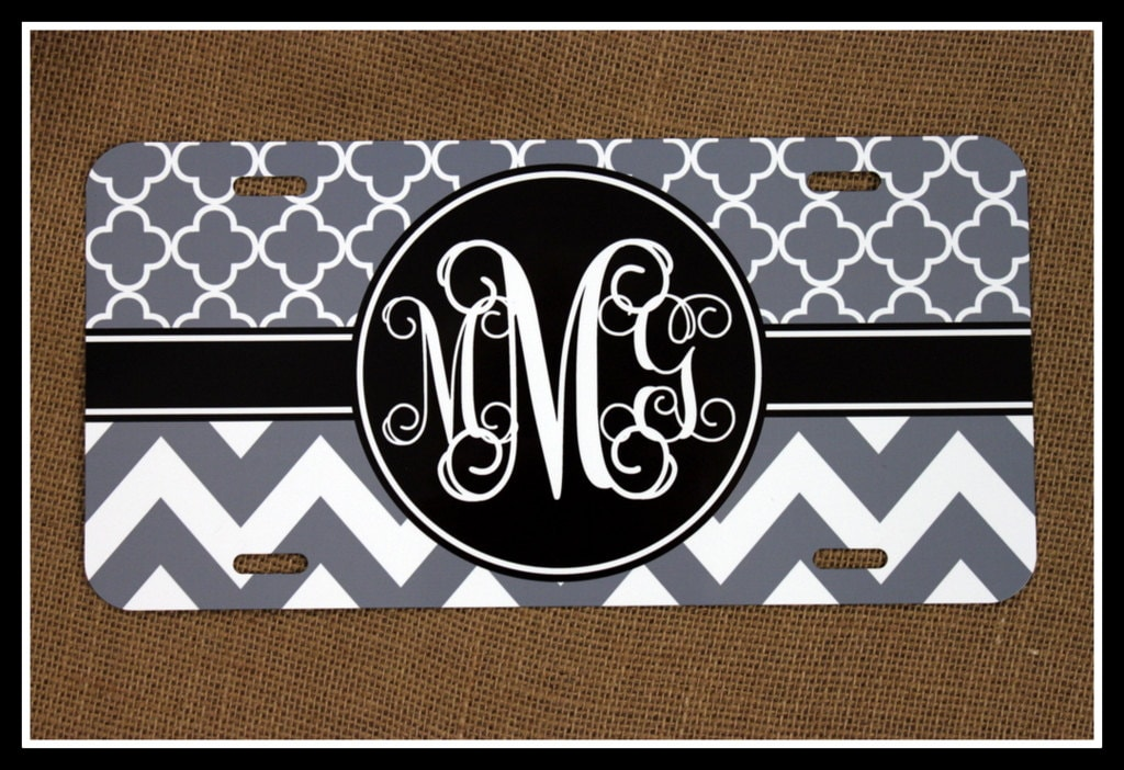 Car Tags: License Plate Car Tag Personalized Monogrammed Car Tag Car