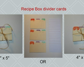 """Recipe Box Divider Cards 3x5"""" or 4x6"""" hand painted."""
