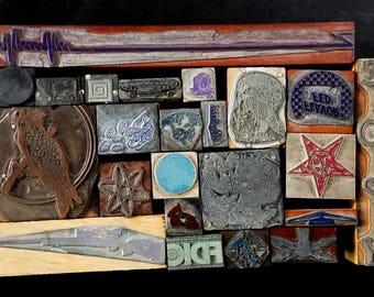 Vintage Letterpress Printing Blocks Cuts Stamps Wood Metal