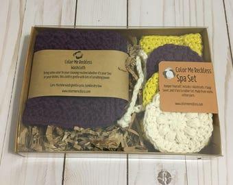 Spa Set - 100% Cotton Washcloth Soap Saver Face Scrubber
