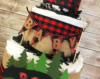 Lumberjack Baby Shower Diaper Cake, Lumberjack Baby Shower Centerpiece, Buffalo Check Baby Shower Decor