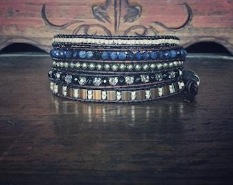 Authentic gemstone vintage style wrap bracelet