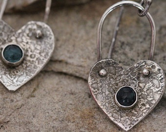 sterling silver and london blue topaz heart earrings. oxidized. textured. 925 silver. Boho