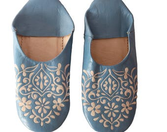 Babouche Light blue Floral pattern slippers