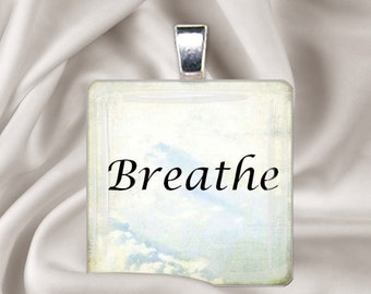 Breathe - Square Glass Tile Pendant Necklace