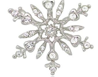 Silver-tone Swarovski Element Crystals Snowflake Pin Brooch