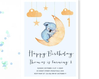 Bear Birthday Invite, Boys First Birthday invite, 1st Birthday invitation, Stars, moon invitation, Boys Party invite printable, koala, bear