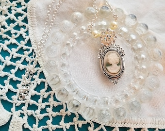 Cameo Necklace, Re-Purposed Vintage Rhinestone Flower, Pearls, Silver Necklace, One of a Kind, Vintage Inspired, MarjorieMae