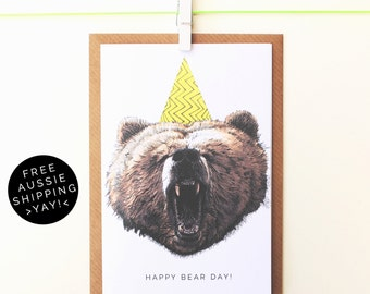 Happy Bear Day! Birthday Card - Illustrated Greeting Card - 100% Recycled - From TheWildGooseProject