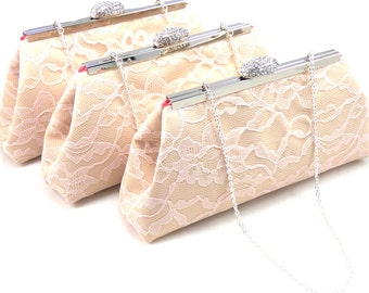Set Of Three Bridesmaid Clutches in Champagne, Blush Pink and Coral, Custom Bridesmaid Gift, Personalized Bridal Clutch, Mother of the Bride