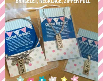Super cute CTR jewelry, Choose the Right, Baptism, LDS Primary theme 2017, Religious jewelry, zipper pull, necklace, bracelet, custom charm