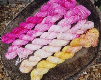 TOOTY FRUITY  hand dyed 4ply sock yarn mini skeins merino wool