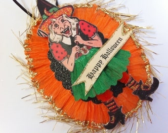 HALLOWEEN Happy WITCH vintage style chenille ORNAMENT oval medallion