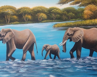 Wall hanging,canvas painting,Africa art,Home decor,Wall decor,Elephant painting,African wall hanging,Animal painting,Living room decor