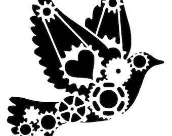 """6/6"""" steampunk cogs love dove stencil."""