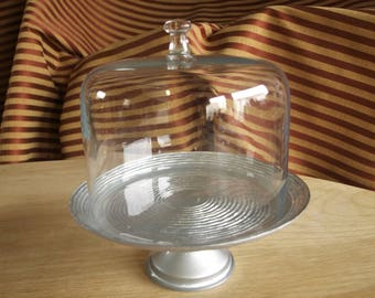 Small Silver Glass Pedestal Cake Plate with High Clear Glass Dome Lid