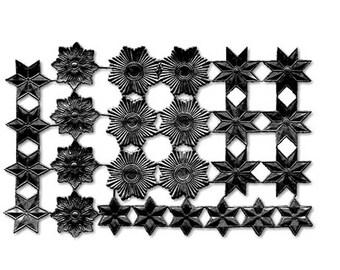 Dresden Trim Germany 26 Large Black Die Cut Stars Medallions DFW749B