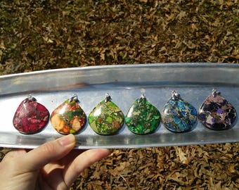 Gorgeous sea sediment jasper stone pendant necklace. 6 different colors to choose from.