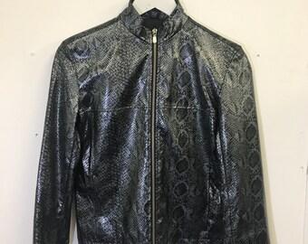Vintage 2000s 00s Snakeskin Snake Print Pleather Shiny Plastic Metallic Raver Club Kid Jacket